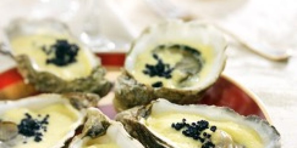 Huîtres au sabayon de Saké