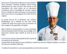 Décès du Baron Pierre Romeyer – co-Fondateur Euro-Toques