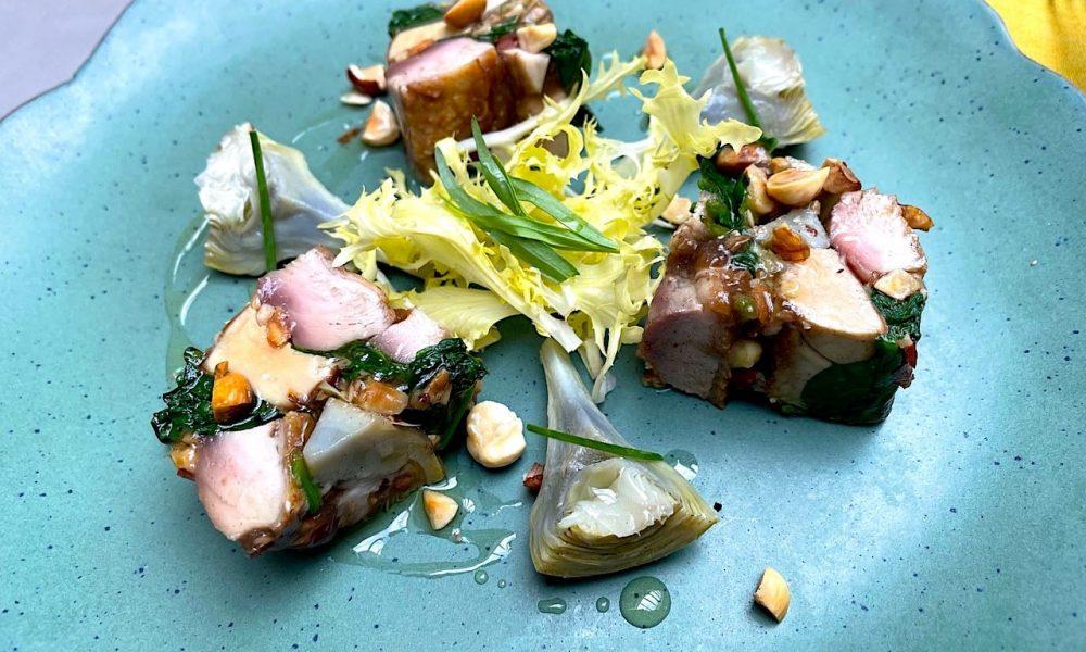 Pressé de cailles des Vosges, foie gras et artichauts à l'huile de noisette