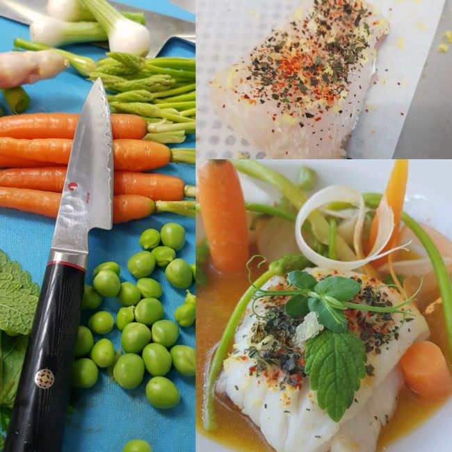 Pavé de Merlan, Bouillon à la mélisse, légumes primeurs
