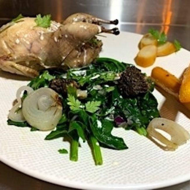 Cailles des Vosges cuites au foin d'alpage & morilles de Haute-Maurienne